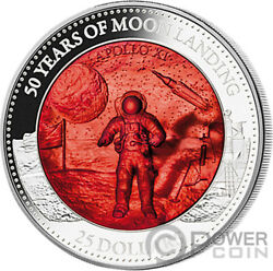 Moon Landing Anniver Mother Of Pearl 5 Oz Silver Coin 25 Solomon Islands 2019