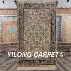 Yilong 3and039x5and039 Handknotted Oriental Silk Carpet All-over Antistatic Area Rug L106a