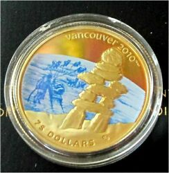 2010 Canada Vancouver Winter Olympics 75 Dollars Gold Coin Color Inukshuk