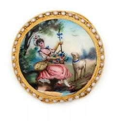 Antique Victorian Brooch 18k Gold 1840 Swiss Pocket Watch Cover With Seedpearl
