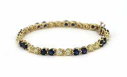 14k Yellow Gold, 3 Cts Diamonds And Blue Sapphires Tennis Style Ladies Bracelet