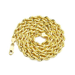 10k Yellow Gold Solid Diamond Cut Rope Chain Necklace 2mm To 6mm Width