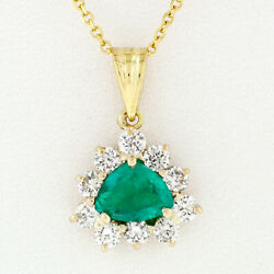14k Yellow Gold Trillion Green Emerald Solitaire And Diamond Halo Pendant Necklace