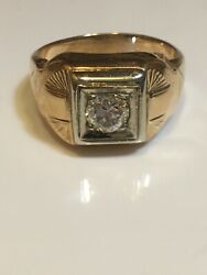 14k Antique Mans Ring With .60ct. European Cut Diamond Free Shipping