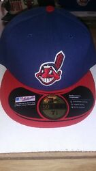Cleveland Indians New Era Navy Red Home 59fifty Authentic Hat Size 7 12 -new