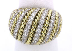 14k Yellow And White Gold Ladies Spiral Twist Domed Top Diamond Ring 2 Carats