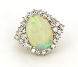 Ladies Estate Piece 14k White Gold Beautiful Opal And Diamond Ring 1.50 Carats