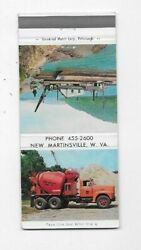 Vintage Matchbook Cover Ohio Valley Sand Co New Martinsville Wv Cement Truck 96