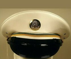 Us Army Military Police Mp Enlisted Service Dress Whites Hat Cap
