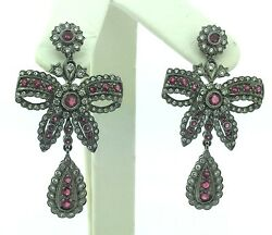 Ladies Estate Piece 14k White Gold Diamond And Ruby Earrings