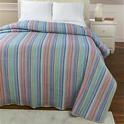 Classic Farmhouse Striped Bedspread – Red, Green, Blue, Yellow
