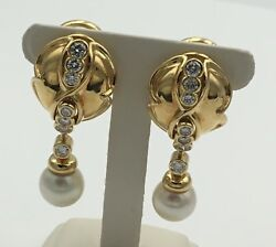 18k Yellow Gold Diamond And Pearl Earrings Ladies Estate 2 Carats