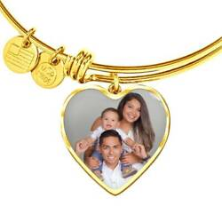 Personalized Photo Bangle - Hypoallergenic Surgical Steel - Engraved -18k Gold