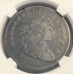 1798 Silver Dollar Draped Bust Small Eagle NGC XF Details Cleaned