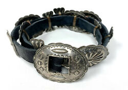 Native American Navajo Sterling Silver Concho Leather Belt
