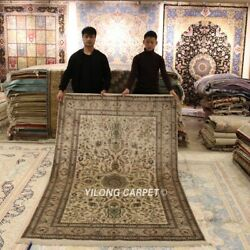 Yilong 5and039x8and039 Handmade Silk Carpets Traditional Home Interior Area Rug 259a