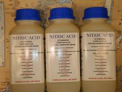 Dt Nitric 70 Acid, Three 1 Liter 102oz High Purity Hno3 Gold/silver Refining