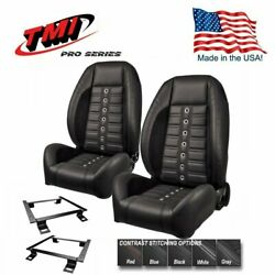 Tmi Pro Series Sport Xr Lowback Bucket Seats And Brackets For 1970-74 Camaro