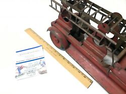Rare 1900and039s Antique Turner Toys Pressed Steel Fire Ladder Truck - All Original