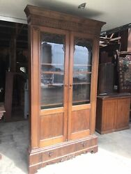 Signed Mitchell And Rammelsburg Mahogany Corner Early Victorian Bookcase