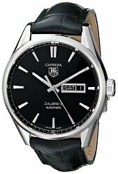 Tag Heuer Men's War201a.fc6266 'carrera' Automatic Black Leather Watch
