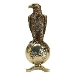 Bronze 8 Inch Case Old Abe Eagle On Globe With Display Stand Zjd1883