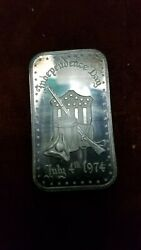Madison Mint 1 Ounce 999 Silver Art Bar Independence Day July 4th 1974 Lot 647
