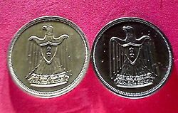 Ex Egypt 196010 Piaster Proof And Not Proof / You See The Different Aunc Silver