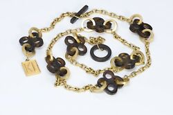 Karl Lagerfeld Paris Gold Plated Brown Lucite Charm Chain Belt Necklace