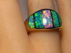 Large Brilliant Color Inlay Opal Ring 14k Yellow Gold Size 91/4