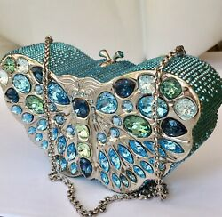 Judith Leiber Butterfly Crystal Minaudiere Bag, Jl Box, Mint Condition