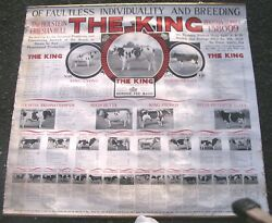 Early Paper Linen Holstein Cow Bull Roll Down Sign Cattle The King Bloodline