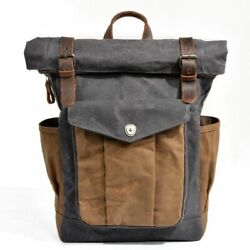 Leather Backpack Vintage Oil Waxed Canvas Large Capacity Teenager Waterproof Bag