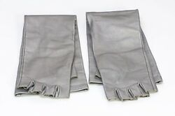 Cc Gray Silver Leather Long Fingerless Womenandrsquos Gloves