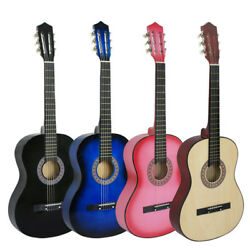 38 Acoustic Guitar Beginners With Guitar Case Strap Tuner And Pick Wooden