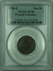 1740-e French Colonies 1 Sou Marque Coin Pcgs Xf-40 Gh