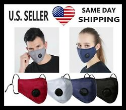 Reusable Cotton Adult Face Mask With Valve 3D Design + PM2.5 High Quality Filter