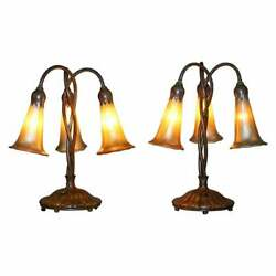 RARE PAIR OF ORIGINAL TIFFANY STUDIOS LAMPS FAVRILE GLASS SHADES SOLID BRONZE