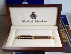 Michel Perchin Blue And Gold Ribbed Ltd Edition Fountain Pen-0225/4321-never Inked