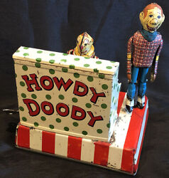 1950and039s Marx Linemar Howdy Doody W/ Clarabell Piano Band Tin Windup Toy Litho Tv