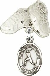 Sterling Silver Baby Badge Baby Boots Pin With Saint Christopher Baseball Charm