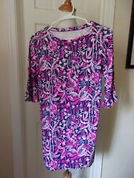 LILLY PULITZER GIRLS MINI SOPHIE DRESS BRIGHT NAVY SWING OF THINGS XL UPF 50
