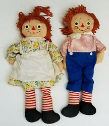 Pair Of Vintage 40's Johnny Gruelle's Own Raggedy Ann And Andy Rag Doll 19