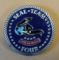 Naval Special Warfare Seal Team 4 Black Seal Navy Challenge Coin / Four