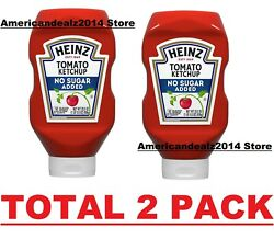 Heinz No Sugar Added Tomato Ketchup, 29.5 Oz Bottle, Total 2 Pack