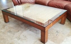 Modern Barn Cocktail Sofa Coffee Table Seagrass Rope W/ Glass Top