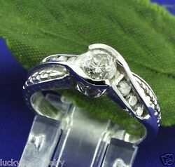 0.75 Ct 14k White Gold Ladies Natural Champagne Diamond Ring Antique Inspired