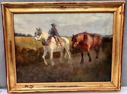 CORNISH Cowboy with Horses NEWLYN SCHOOL Oil Painting - Frederick Hall 1860-1948