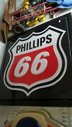 Vintage Phillips 66 Gas Sign Plastic Mounted And Lighted 65 X 65 X 8