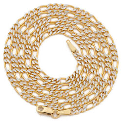 14k Yellow Gold Solid Pave Two-tone Figaro Chain Necklace 2mm To 6.5mm